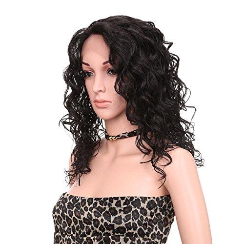 SHKY Kinky Curly Hair Perücke Hohe Dichte Hitzebeständige Synthetische Haar Weben Voll Perücken Für Frauen Wavy Synthetische Perücke Natürliche Look synthetische Spitze Front Perücke , black Haar Weben Net Bulk
