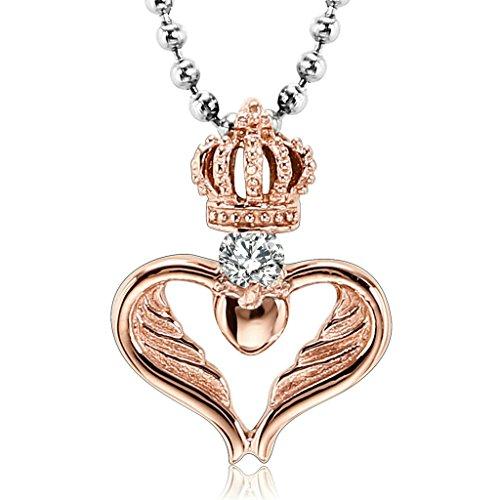 Aooaz Edelstahl Paare Halskette Anhänger Rose Gold Krone Cape Herz Weiß Zirkonia Anhänger Damen Kette Trauung Retro