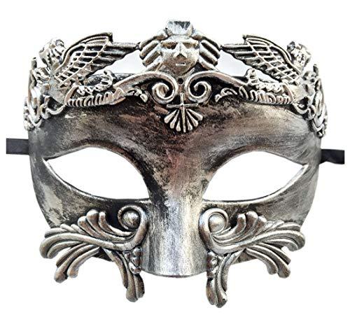 Coolwife Mens Maskerade Maske griechischen römischen Party Maske Mardi Gras Halloween Maske (Silber Schwarz)