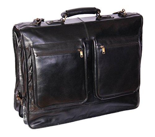 Portatrajes de Viaje de Cuero Real Fin de Semana Vestir Prenda Bolsa de Ropa Canico Negro