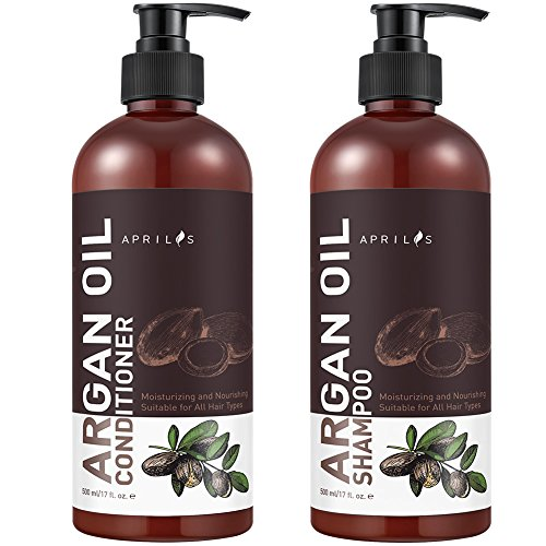 Aprilis Moroccan Argan Oil Shampoo and Conditioner Set, Vitamin Enriched & Volumizing Treatment for Hair Loss, Damage, Thinning and Regrowth for Men & Women, 2 x 17 fl. oz.