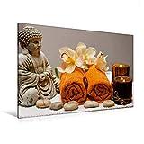 Premium Textil-Leinwand 120 cm x 80 cm quer, Entspannung mit Buddha | Wandbild, Bild auf Keilrahmen, Fertigbild auf echter Leinwand, Leinwanddruck: Zeit für Wellness (CALVENDO Menschen)