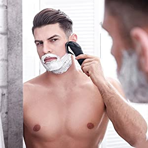 Hatteker Mens Electric Shaver Razor Wet Dry Beard Trimmer Men Pop-Trimmer Waterproof Rechargeable