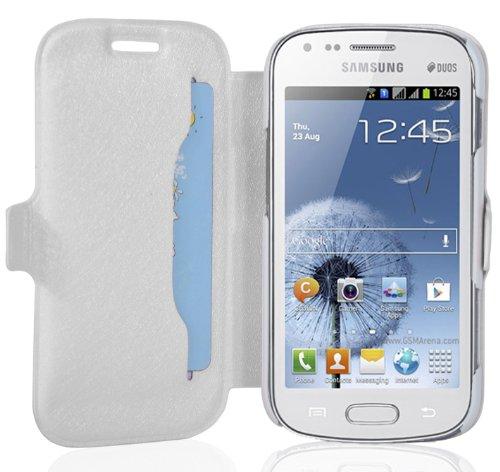 Cadorabo - Ultra Slim Book Style Hülle für Samsung Galaxy S DUOS (GT-S7562) mit Kartenfach und Standfunktion - Etui Case Cover in ICY-WEIß