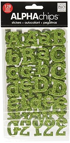 Unbekannt me & My Big Ideas Alpha Chips Designer Chipboard Letter Stickers, Rockwell Alphabet, Light Green Glitter -