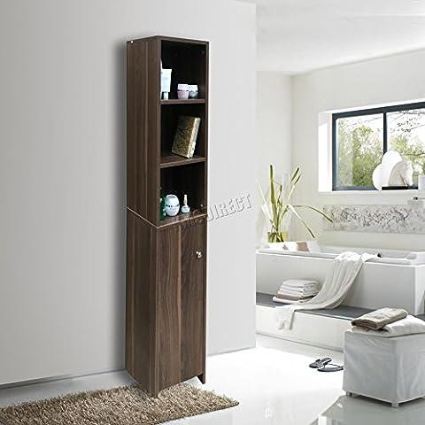 FoxHunter Wall Mount Floor Standing Wooden Bathroom Cabinet Tall Shelving Unit Furniture Storage Cupboard 1 Door Tallboy Dark Walnut New BC08