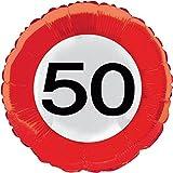 Folat 45cm Traffic Schild Geburtstag Party Folienballon-50. Geburtstag