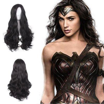 League Perücken Lang Schwarz Curly Stilvolle Kostüm Cosplay Perücken Hitzebeständige Kostüm Party/Täglichen Gebrauch (Heißes Wonder Woman Kostüm)