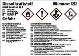 Gefahrstoffkennzeichnung Dieselkraftstoff gemäß GHS 10,5 x 14,8cm Folie mit mattem Laminat Abmessung des Kennzeichnungsschildes für Gebindegröße 50-500 Liter