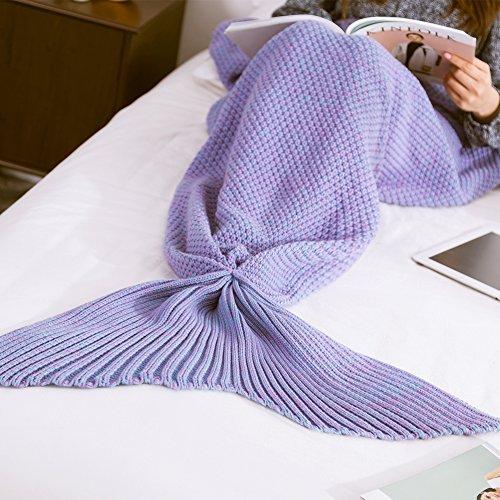 Mermaid Schwanz Decke handgefertigt Weich Schlafsack Häkeln Stricken Wohnzimmer Decke Alle Jahreszeiten beste Mode Geburtstag Weihnachten Geschenk Sofa Snuggle Teppich 190x90cm (Kostüme Nylon Satin)