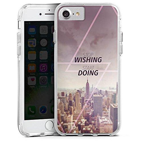 Apple iPhone 7 Bumper Hülle Bumper Case Glitzer Hülle City Wish Statement Bumper Case transparent