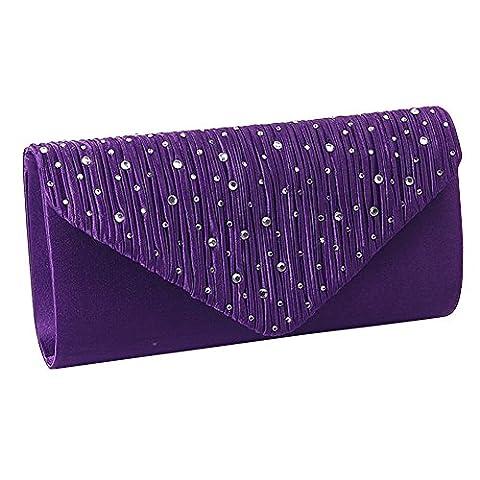 Ladies Rhinestone Envelope Clutch Bag Classic Satin Pleated Clutch Evening Handbag Purse (Purple)