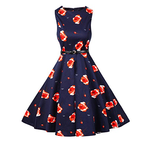 50s Retro Kleid, Lylafairy Damen A-Linie 50er Vintage Abendkleid Rockabilly Kleid Knielang Festliches Pin Up Kleid Partykleider Cocktailkleider (40, 09)