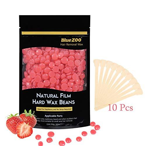 MUUZONING 100g Haarentfernung Wachsbohnen, Geschmack Heißer Film Wachsen für Männer Frauen Körper-Haar, Bein, Achselhöhlen, Brust, Bikini,+ 10 Kostenlose Wachs-Stick(Erdbeere)#5 -