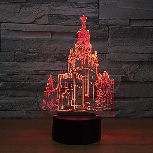 Wzngzj 3D Visuelle Illusion Lampe Glockenturm Gebäude Spielzeug Für Jungen 7 Led Farben ÄndernBeleuchtung Dekoration Spielzeug Kinder Geschenk - Junge Gebäude Spielzeug