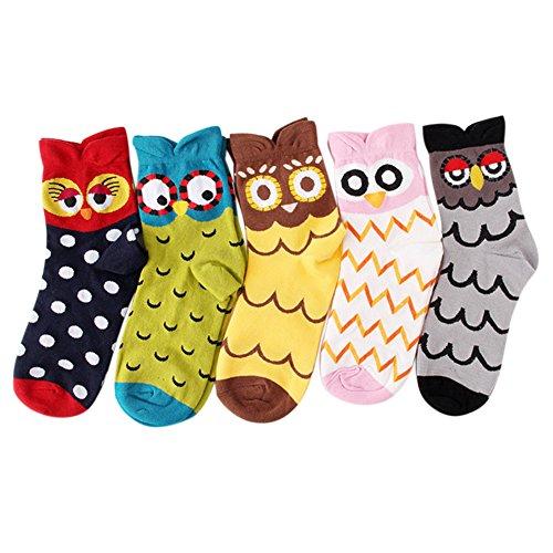 Zantec 5 piezas de dibujos animados lindo búho mujeres calcetines calientes de invierno suave cómodo calcetines de algodón