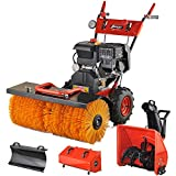 Benzin Kehrmaschine Schneefräse 13 PS mit Elektrostarter 4in1 Schneeschieber Motorbesen Schneepflug