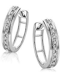 547710d7fdae Orovi Pendientes Señora aros en Oro Blanco con Diamantes Talla Brillante  0.06 ct Oro 9 Kt