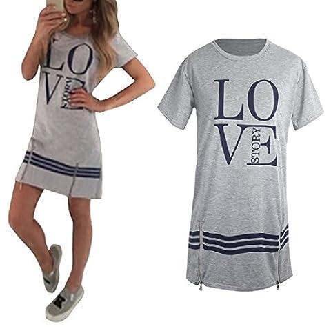 Ladies Summer Casual Short Sleeve Love Printed Dress Long Tops