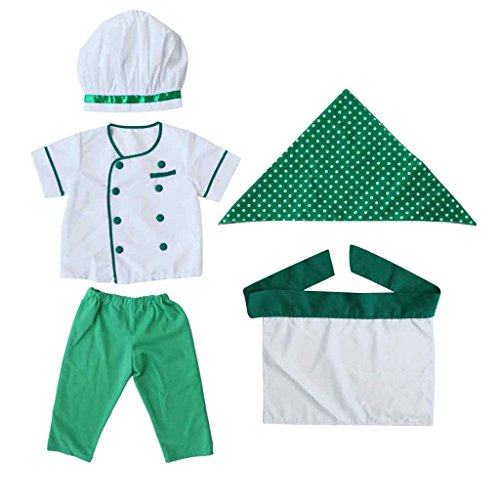 Baby Kostüm Koch - Baby Neugeborene kinder kochjacke fotoshooting Fotografie Prop Outfit Kostüm Grün - Grün