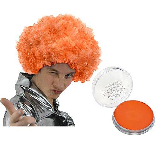 ILOVEFANCYDRESS Orange PERÜCKE + Oranges Make up Set Perfekte Zubehör Um Ihre Verkleidung ZU VERVOLLSTÄNDIGEN = Super als Sport und Fan Artikel FÜR Fussball und Tennis