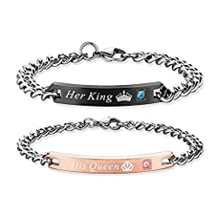 Idea Regalo - OBSEDE His Queen And Her King Bracciale In Acciaio Inossidabile Coppia Braccialetto Amante(2pcs)