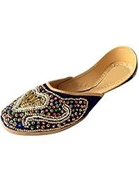 Paso n estilo de las mujeres Phulkari Punjabi JUTTI Khussa Zapatos Zapatos de étnico Rajasthani Mojari, color, talla 41.5