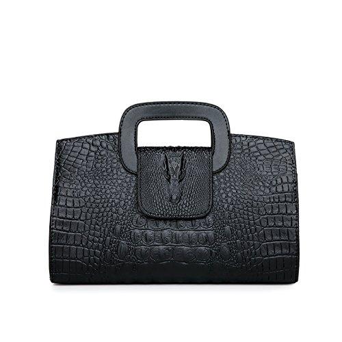 Tisdaini Damen Clutches Umhängetaschen handtaschen Mode Kroko PU Leder Tasche - Schwarze Kroko-handtasche