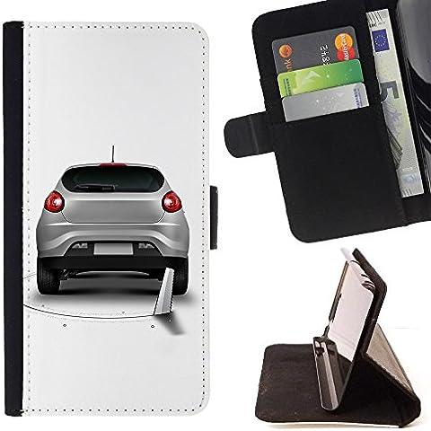 Pelle Portafoglio Custodia protettiva Cassa Leather Wallet Case for MICROSOFT LUMIA 550 / CECELL Phone case / / Funny Saw Car Prank Hole /