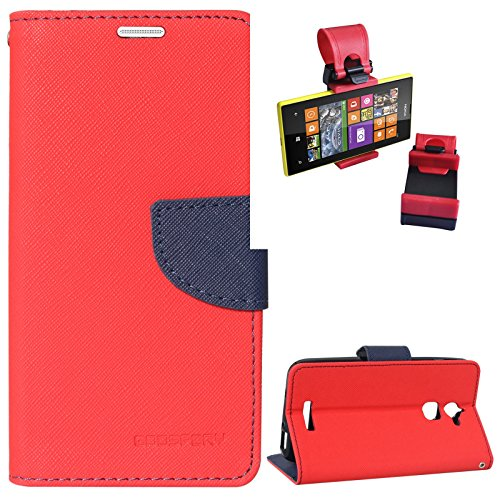 DMG Diary PU Leather Flip Cover Wallet Stand Case for Coolpad Note 3 Lite (Red) + Car Steering Holder