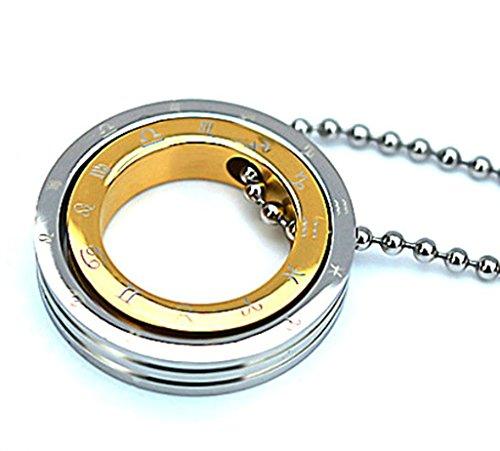 amdxd Jewelry Herren-Anhänger Edelstahl Halskette Vintage Style Gold, doppelt, rund Constellation Männer 14k White Gold Halskette