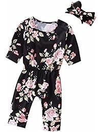 48e5bdc1fa7b Muium Infant Baby Kids Flower Print Flower Print Romper Jumpsuit+Headband  Outfits Boys Girls Clothes