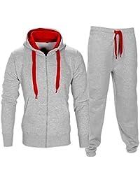 Contraste de cuerda forro polar Gimnasio Conjunto del Chándales Pantalón jogging Capucha Sudaderas para hombre Talla S M L XL