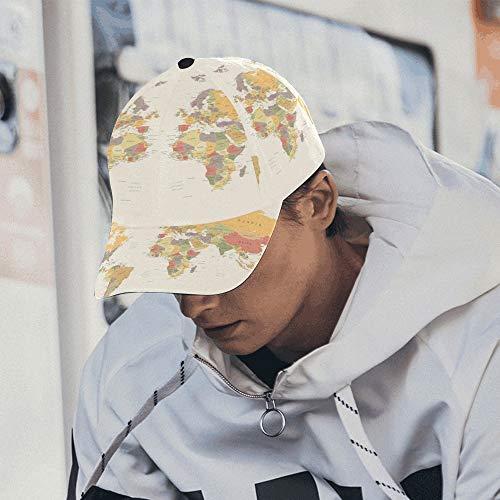 Fahrradkappe Für Frauen Gedruckt Cartoon Weltkarte Decor Icon Beste Herren Caps Baumwolle Weiche Passt Unisex Hip-Hop Sport Sommer Strand Aktivitäten Frauen Baumwollkappe (Weltkarte Cap)