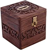Tirelire en forme de carré en bois à la main décorative/tirelire/tirelire coffre-fort pour les filles et les garçons cadeau d'anniversaire (taille (pouce): 4X4X4)