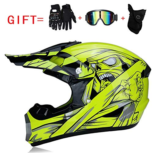 Doppelter Sport-Motocross-Helm Fox Adult Motorradhelm DOT-zertifizierter ATV-Offroad-Roller für Jeeps mit Brille, Handschuhe (S, M, L, XL),L