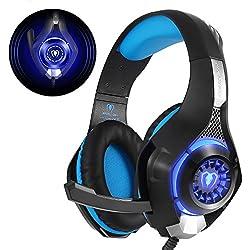 Beexcellent GM-1, Cuffie Gaming con microfono e luce LED, Nero/Blu
