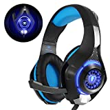 Beexcellent Gaming Headset für PS4 PC Xbox One, LED Licht Crystal Clarity Sound Professional Kopfhörer mit Mikrofon für Laptop Mac Handy Tablet