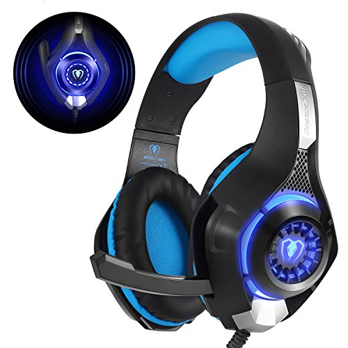 Produktbild Beexcellent Gaming für PS4 PC Xbox One, LED Licht Crystal Clarity Sound Professional Kopfhörer mit Mikrofon für Laptop Mac Handy Tablet Blau