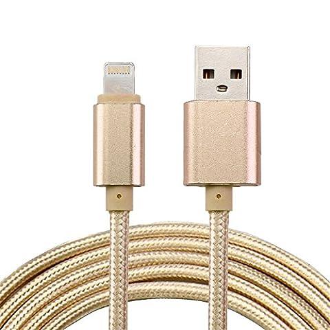 ARTLU® 3m Câble Lightning vers USB Data Chargeur en Nylon avec connecteur en aluminium pour Apple iPhone SE/6/6 Plus/6s/6s Plus/5/5s/5c, iPad Pro/Air/Mini/4e, iPod Touch 5e/Nano 7e generation(or)