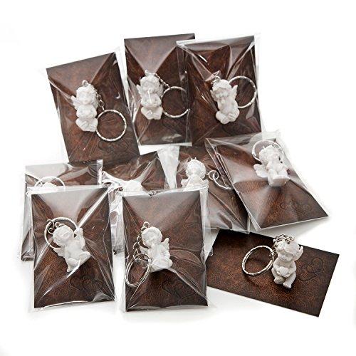 Give-away - confezione da 10 mini angioletti decorativi per natale, matrimonio, compleanno, 3,5 cm, in gesso, con mini cartolina in similpelle, colore: marrone