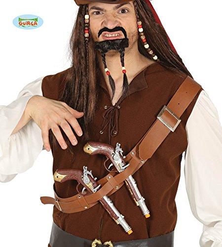 Guirca 2 Piraten Revolver mit Holster im Schultergürtel Karneval Fasching Party Pistole