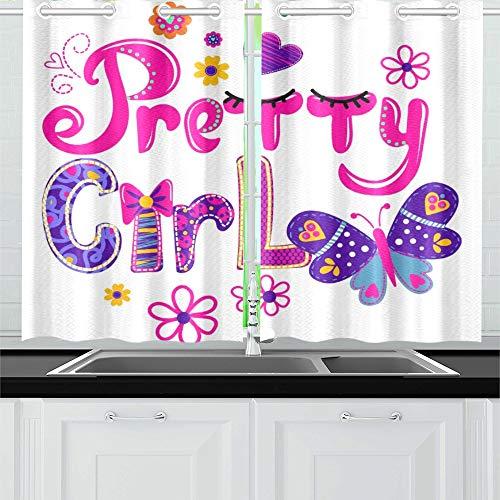QIAOLII T-Shirt Design Mädchen helle Bunte Küche Vorhänge Fenster Vorhang Stufen für Café, Bad, Wäscheservice, Wohnzimmer Schlafzimmer 26 x 39 Zoll 2 Stück -