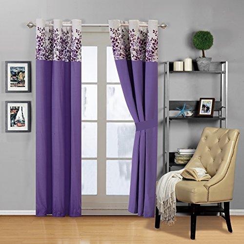 Lila, Flieder, Grau Beflockung Tröster Set Vine Bett in einer Tasche, Polyester-Mischgewebe, violett, Curtains -