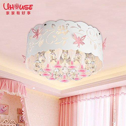JJ LED modernes ceiling lamp Fée Princesse éclairage de plafond de cristal filles chambre enfants chaleureux mariage romantique chambre à coucher lampes à LED circulaire inclus trois documents, palette de couleurs conduit24W 45cm*45cm*21cm,220V-240V