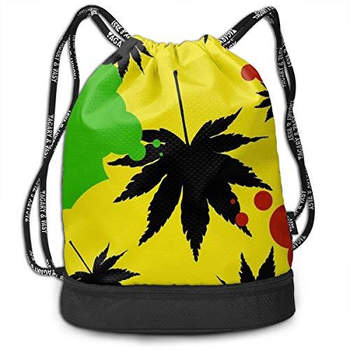 orttasche Rasta Weed Leaf Fashion Drawstring Bags Bundle Backpack Travel String Rucksack Cinch Bag Lightweight Daypack Unisex Gym Sports Yoga Climbing for Women Man ()