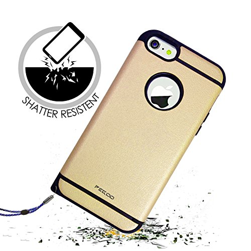 Coque iPhone 5,Pegoo Antichoc Armure Housse par le souple TPU Silicone + dur PC Double Mixte Anti Scratch Protection cas Coque Housse Etui Cover Case Pour apple iPhone 5 5S SE (Vert) Champagne Or