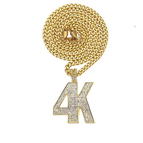 e 4K Brief Anhänger Kristall Strass Edelstahl Iced Out Halskette Rock Seil Kette Schmuck,Gold ()