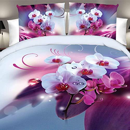 Weimilon 4Tlg 3D Blumen Bettwäsche Set Bettbezug Bettlaken Kissenbezug Königin Schlafzimmer Einfacher Stil Bettwäsche Home Dekoration Geschenk Simplicity Gebrauch (Color : Colour, Size : Size) (Bettwäsche-set Königin Blumen -)