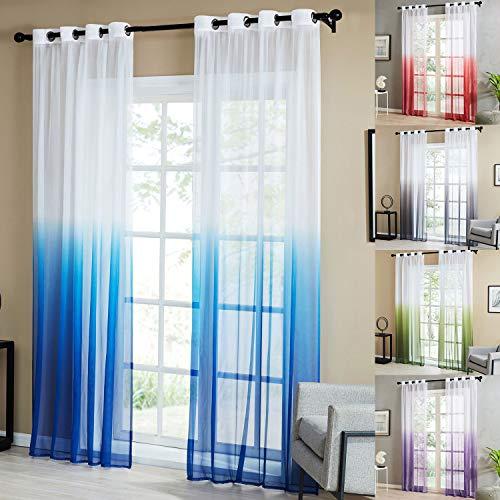 Topfinel tende voile trasparente occhielli con gradiente di colore decorativi finestra balcone casa 140x260cm 2 pezzi-blu